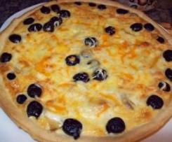 Quiche de tomates,champiñones,queso semicurado y aceitunas negras.